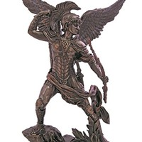 Archangel Uriel in lightly hand-painted, cold-cast bronze, 13.25inches.