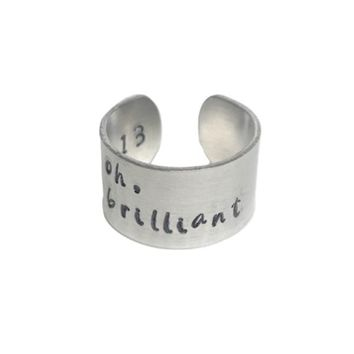 Oh, Brilliant Hand Stamped Doctor Who Aluminum Cuff Ring