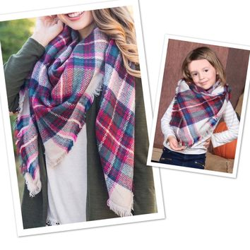 Matching Mother Daughter Maroon Plaid Blanket Scarfs: Burberry Plaid