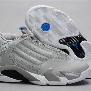 Cheap Air Jordan 14 Retro Men Shoes Grey Blue
