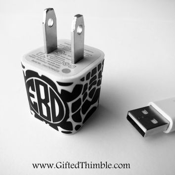 Giraffe Monogram Iphone Charger Decal / Iphone Charger Wrap