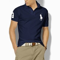 sale Ralph Lauren Classic-Fit Big Pony Polo Marine / Weiß shop deutschland