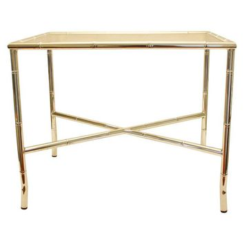 Pre-owned Chrome Faux Bamboo End Table with Smoked Glass Top