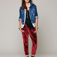 Free People Burnout Velvet Pleat Pant