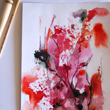 Abstract Leaves Original Watercolor Painting, Red Nature Modern Watercolour Art