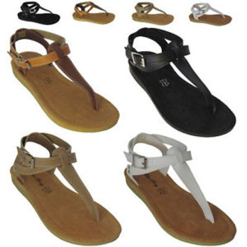 New Women Sandals Shoes Gladiator Thong Flops T Strap Flip Flat Size Strappy Toe
