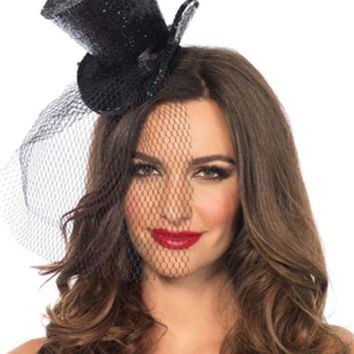 Mini Top Hat With Veil In Black
