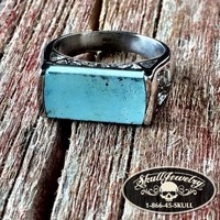 Turquoise Stainless Steel Ring (c026)