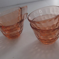 Art Deco Tea Cups Set of 4 Akro Pink Depression Glass Tea Cups Pink Set Tea Cups Akro handles Hex Optic Pink Glassware