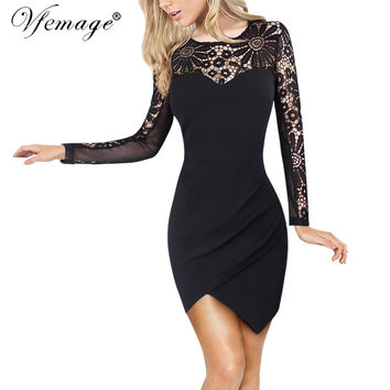Vfemage Sexy See Through hollow out Crochet Lace Asymmetric Irregular Ruched Women Casual Party Club Beach Mini Short Dress 4715