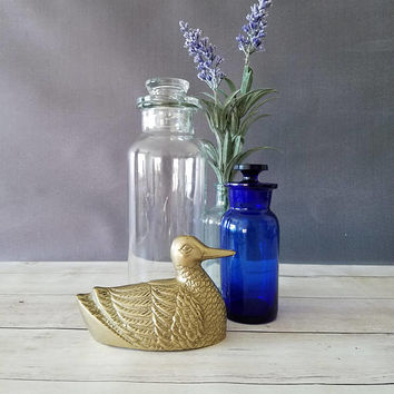 Brass Duck/ Brass Animals/ Brass Figurine/ Brass Bird/ Duck/ Brass Duck Bookend/Brass Bookend/ Mid Century Brass/ Brass paperweight