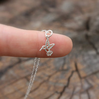 Hummingbird necklace  tiny sterling silver by sevgicharms on Etsy