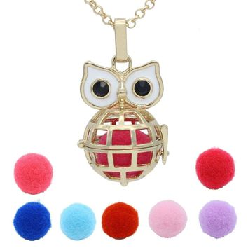 Owl Globe Hollow Cage Box Necklace