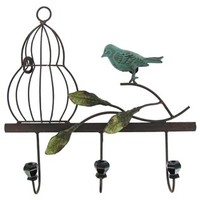Metal Wall Decor with Bird, Cage & 3 Hooks | Shop Hobby Lobby