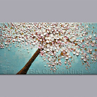 Art, Oil Hand-painted picture, 100% home-made Cherry Blossom tree canvas No Frame
