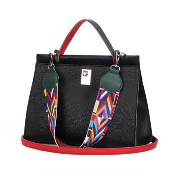 Colorful Ribbon Women Handbag Lock Shoulder Bag
