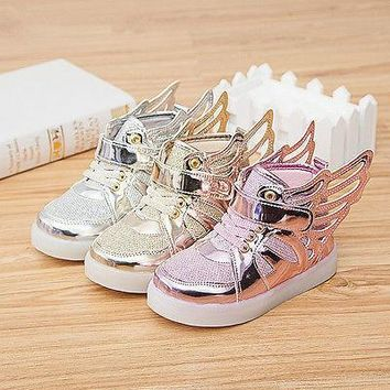 Kid Unisex Shoes With light Fashion Glowing sneakers shoes wings light up shoe H