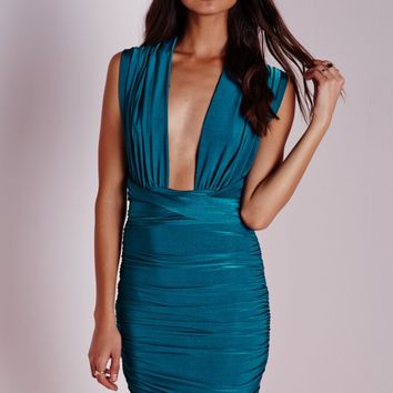DO ME ANY WAY MULTIWAY SLINKY BODYCON DRESS TEAL