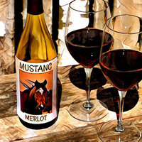 Mustang Merlot Print on Canvas