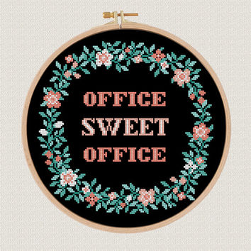 office decor cross stitch pattern pdf Office sweet office cross stitch modern flowers wreath cross stitch Easy Counted Chart diy  gift