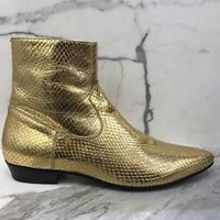 Saint Laurent Paris Gold Devon Runway Boots