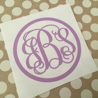 Solid Circle Fancy Script Monogram |Circle Vine Monogram | Laptop Monogram  | Car Monogram | Notebook Monogram