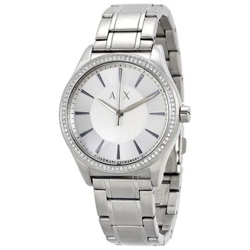 Armani Exchange Silver-tone Dial Stainless Steel Dress Ladies Watch AX5440
