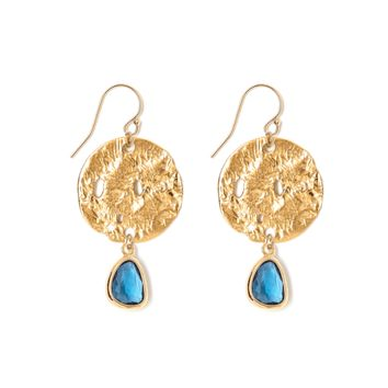 Tess and Tricia Lyra Deep Blue Disc + Gem Drop Earring