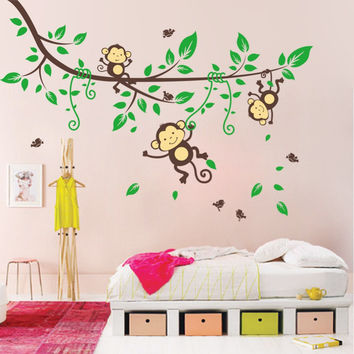 green monkeys tree branch wall stickers decals children animals vinyl wallpaper mural girls boys kids home bedroom nursery decor