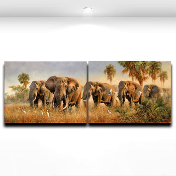 2 Pieces Wall Picture Elephants in The Grassland Canvas Prints Wild Animal Painting for Living Room Home Decor