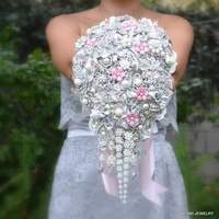 Blush cascading brooch wedding bouquet -- deposit on made to order  brooch wedding bouquet