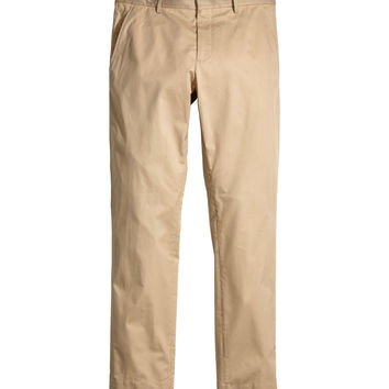 H&M - Premium Cotton Chinos - Beige - Men