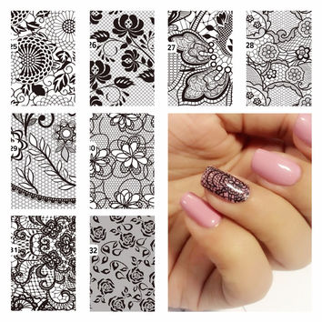 ZKO 1 Pc DIY Nail Water Decals Lace Flower Designs Transfer Stickers Nail Art Sticker Tattoo Decals