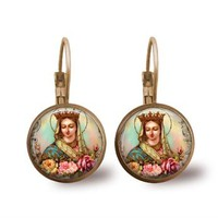 Virgin Mary Mystical Rose Glass Tile Religious Earrings