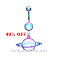 Colorline Saturn Planet Revo Belly Button Ring Stainless Steel Body Jewelry Black Friday Cyber Monday