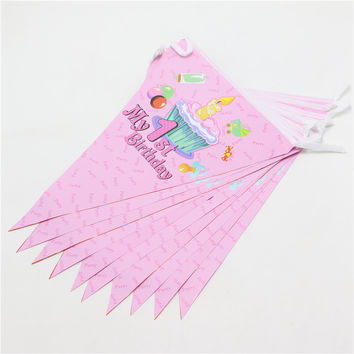 1 set girl first birthday banners theme party paper flags colours baby boy favor birthday party decoration party supplies