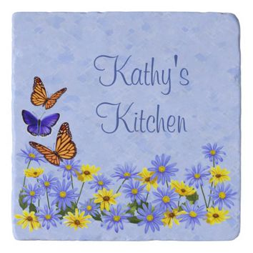 Pretty Butterflies and Daisies Spring Garden Trivet