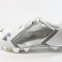 Under Armour Men's Blur Low MC White/Chrome Football Cleats