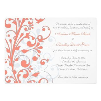 Coral, Grey, & White Floral Wedding Invitation from Zazzle.com