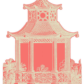 "Wall Decal - Pagoda - Pink Salmon - Size 36"" x 65.2″"