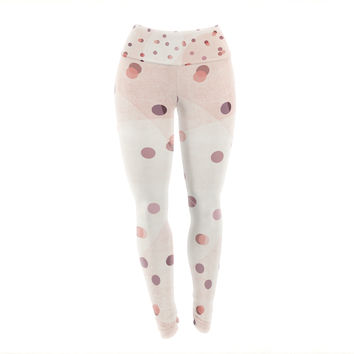 "Iris Lehnhardt ""Dotty"" Pink Coral Yoga Leggings"