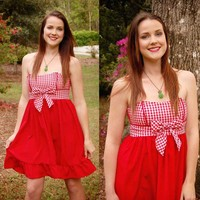 Red Gingham Picnic Dress LARGE by patriciavalery on Etsy