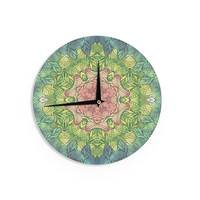 """Art Love Passion """"Pink Celtic Flower"""" Green Pink Wall Clock"""