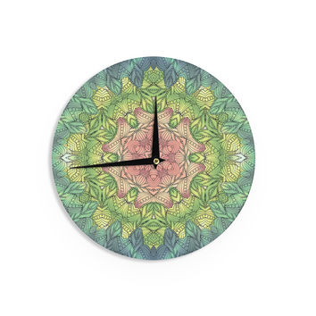 "Art Love Passion ""Pink Celtic Flower"" Green Pink Wall Clock"