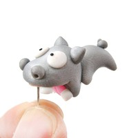 Handmade Hippo Biting Your Ear Animal Polymer Clay Stud Earring | DOTOLY