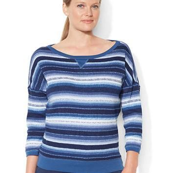 Lauren Ralph Lauren Plus Waffle-Knit Ombr¨¦ Striped Shirt