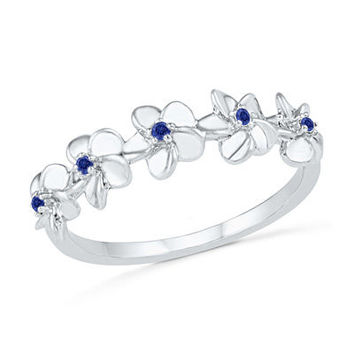 Lab-Created Blue Sapphire Flower Band in Sterling Silver - Save on Select Styles - Zales