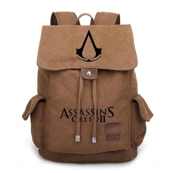Vintage Style Assassin's Creed Printed Bag Backpack Travel Canvas Book School Men Women Boy Girls Bag Gift