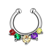 BodyJ4You Multi Colored Gem Gay Pride Fake Non Piercing Septum Hanger