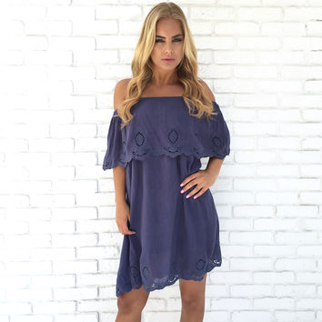 Lotus Scallop Off Shoulder Dress In Blue